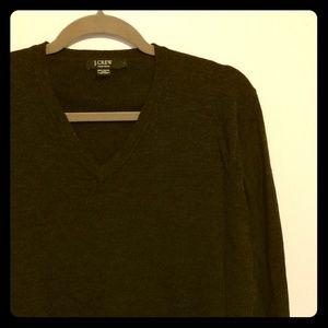 Vintage J.Crew Large Men's Grey V Neck Sweater